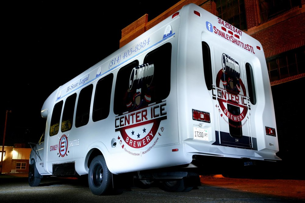 The Center Ice branded Stanley Shuttle takes patrons to home Blues and Cardinals games from the Midtown Alley brewery.