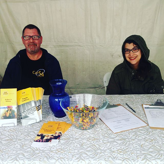 Come say hi to our slightly chilly but very friendly representatives here at #TucsonMeetYourself and learn about our mission of #mentalhealth #recovery through working! #CTFTucson #TMY2018 #recoveryworks