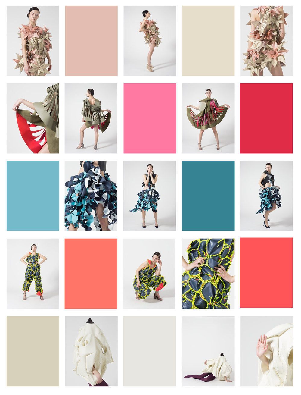 Designers (top to bottom): Sophie Zhou, Yafei Shen, Meiru Cai (skirt) + Carley Brandau (top), Carley Brandau, Yuanyu Xiong  lookbook concept color swatch book
