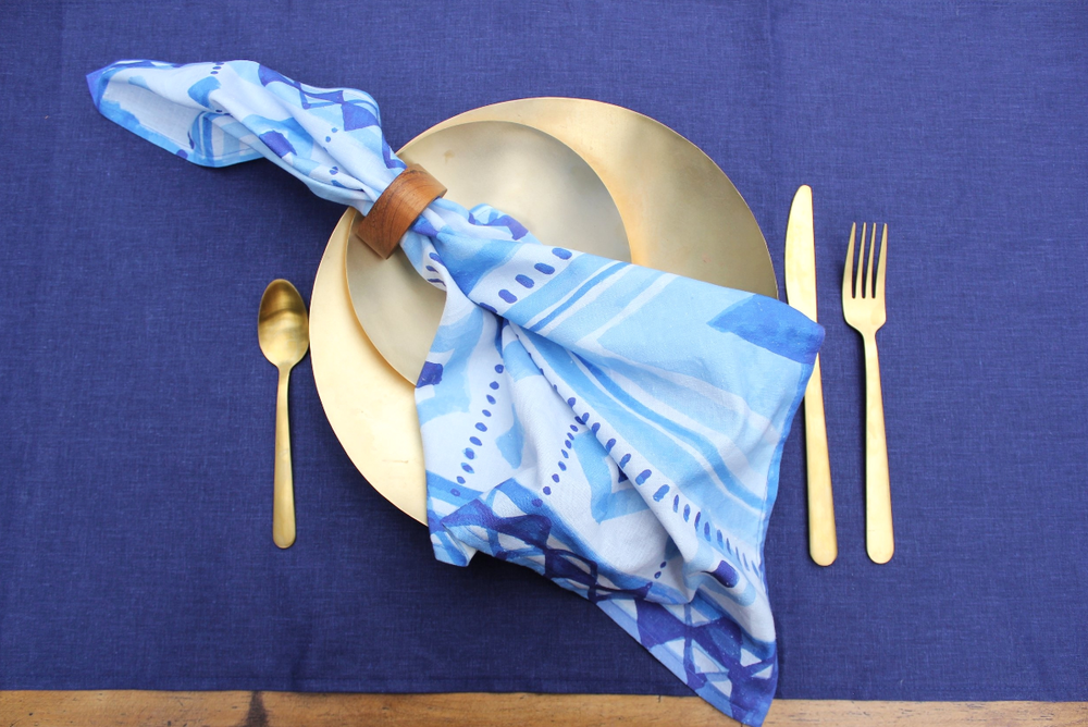 #4. Brighten your kitchen - with these beautiful napkins and hand towels printed on sustainable textiles, such as hemp, produced in the US. https://www.mooncloth.co/shop-1/tribalwaternapkin