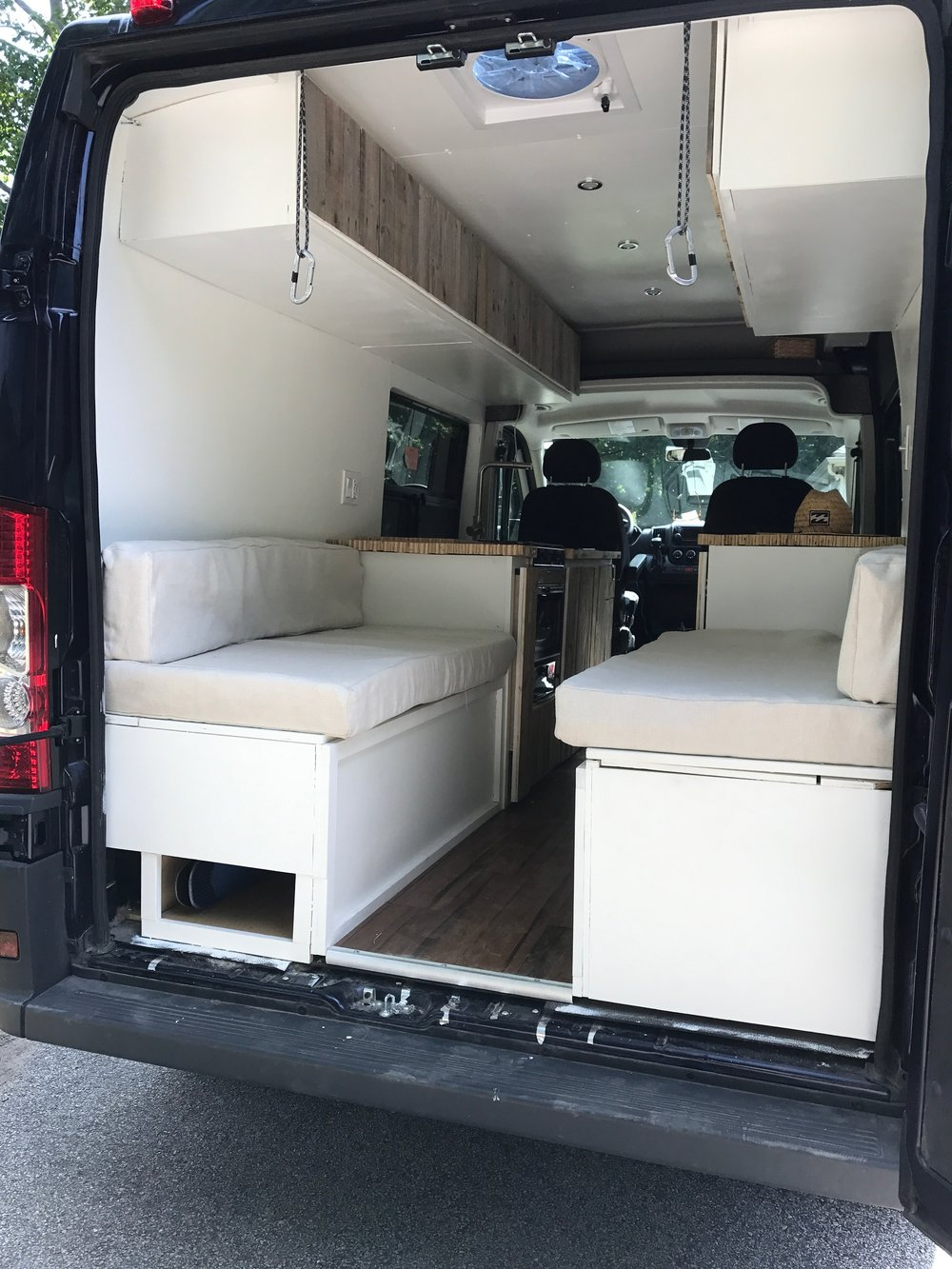 Cushions covered and installed in the van! The couches and bed were complete!