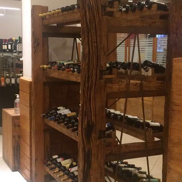 We love this wine rack made from reclaimed Peroba Rosa!