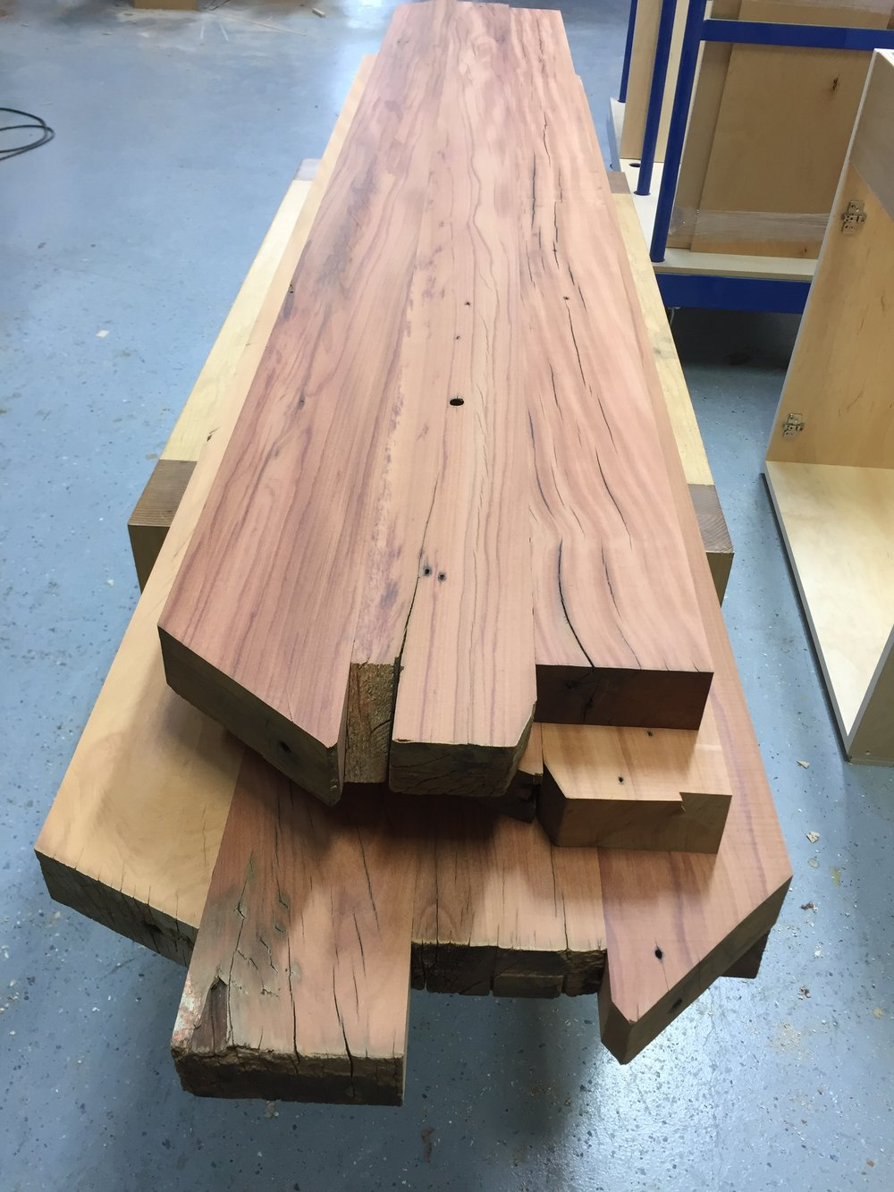 Milled peroba timbers