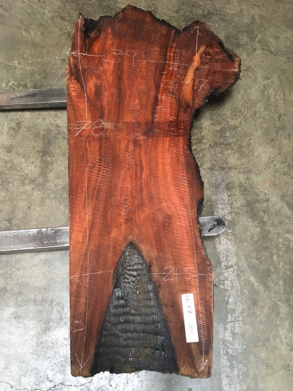 1200 year old redwood live edge slabs with burnt edges
