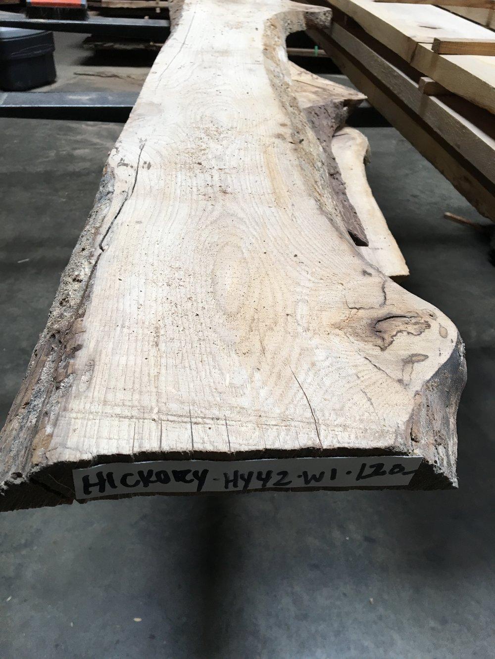 Live edge hickory slab