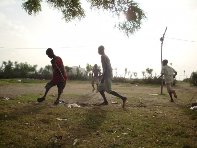 Playing soccer in Destra