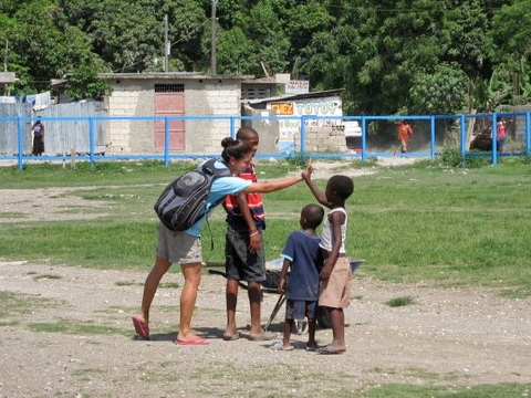 Ending a community clean up in Leogane on a high note