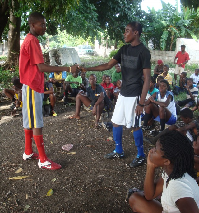 Teenage boys at Chatuley practice a health skit