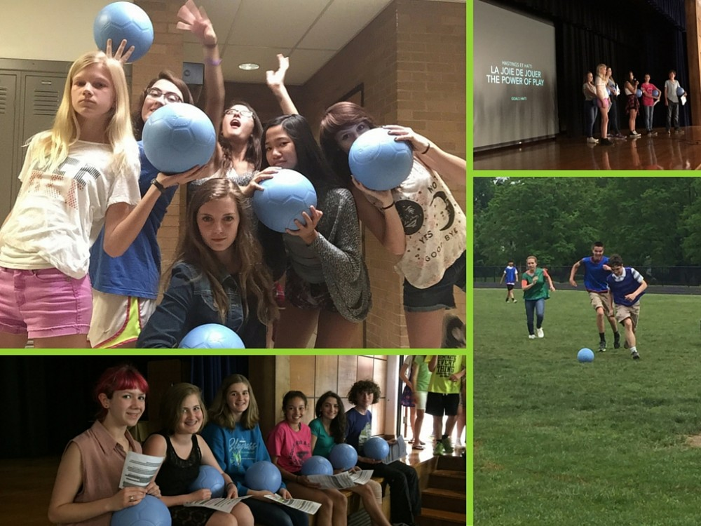 Clockwise, from top left:  Students show off the One World Futbols they've raised; Presenting their Power of Play project to the entire school; Testing out the One World Futbols at a fundraising match; More French students from Hastings Middle School in Upper Arlington, Columbus, OH.