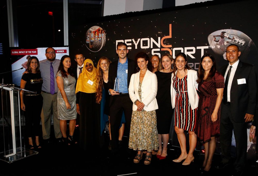 GOALS E.D. Kathy McAllister pictured with other past winners at Beyond Sport