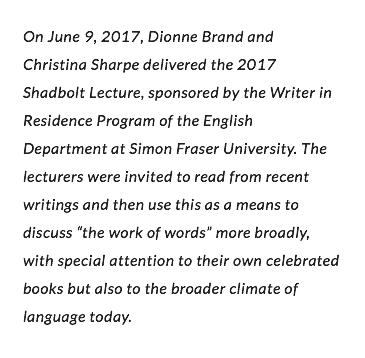 Dionne Brand, Christina Sharpe, & David Chariandy