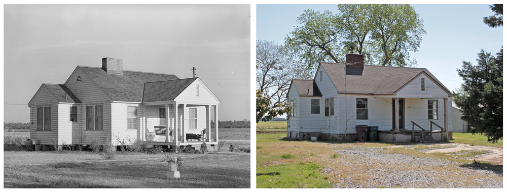 Left: Type of house, Lake Dick Project, 1938. Russell Lee.  Right: One of four remaining houses from the Lake Dick Project, 2018.