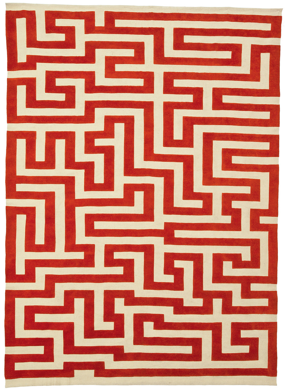 Red Meander, Anni Albers. Hand-knotted, handspun wool. (7 × 10 feet)