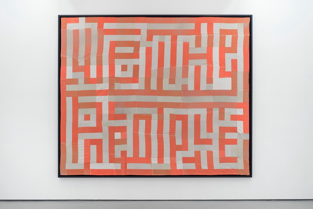 We The People , Hank Willis Thomas, 2015. Quilt made out of decommissioned prison uniforms. (73 ¼ x 88 ¼ inches)