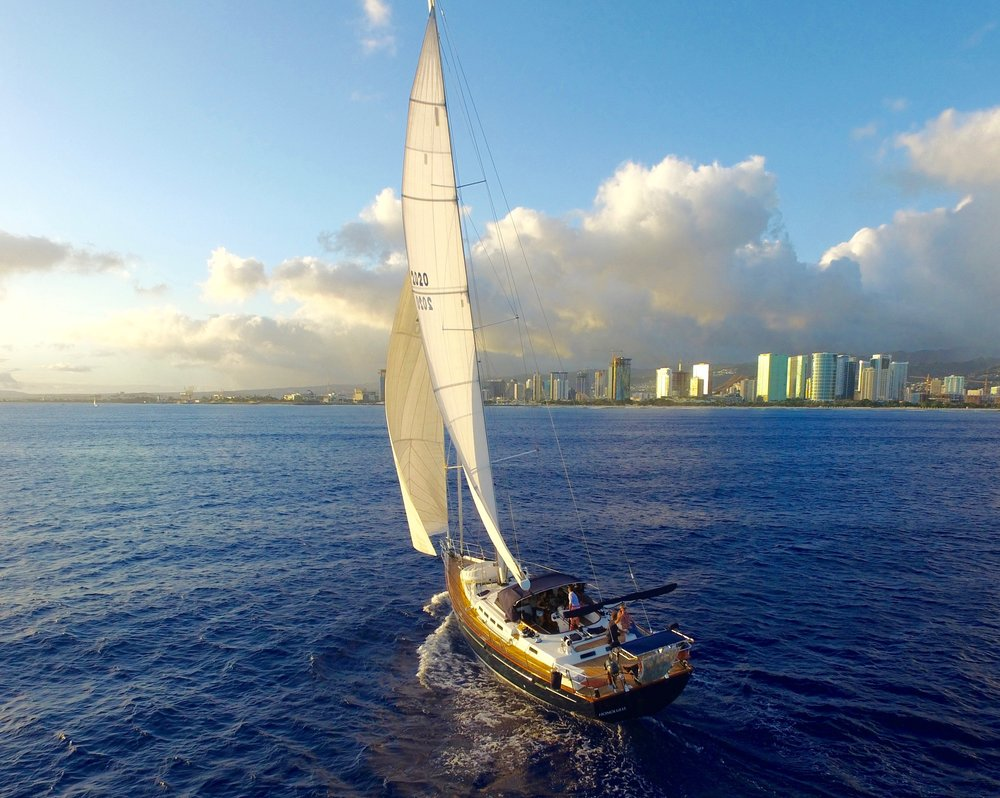 Sailing yacht off Waikiki