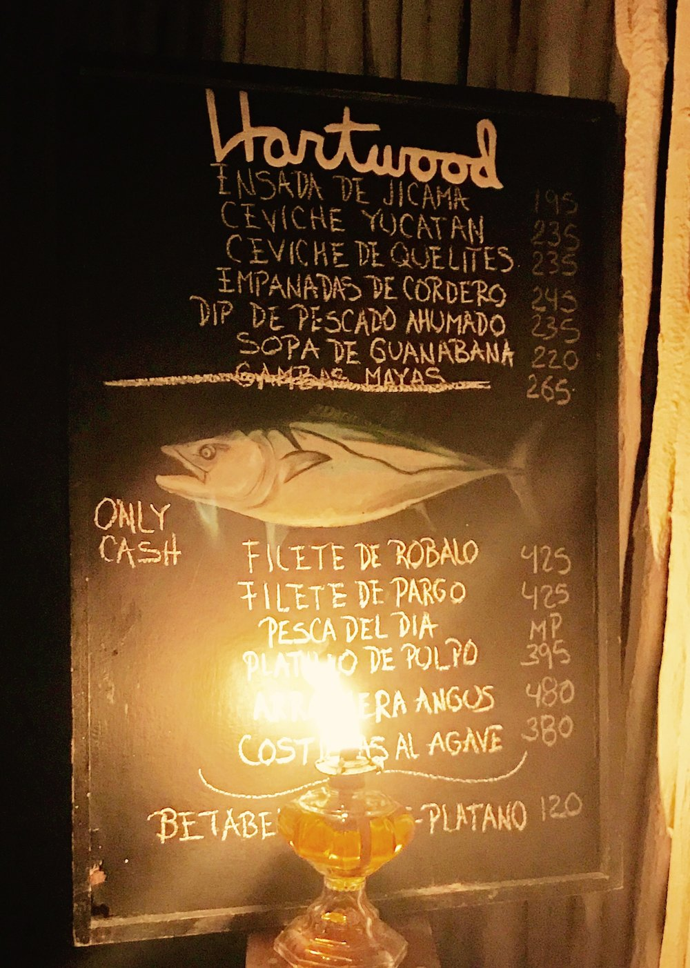 The chalkboard menu at Heartwood updated daily