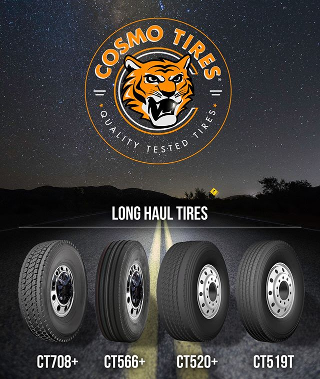 "Heavy loads and high speeds for extended periods of time, learn more about our ""Long Haul Tires"" at http://cosmotires.com #CosmoTires  Cargas pesadas y altas velocidades para periodos extendidos de tiempo. Mas informacion sobre nuestras ""llantas de larga distancia"" en http://cosmotires.com  #qualitytested #cosmo #cosmotires #drive #travel #semitruck #tread #tires #tyres #llantas #heavydutty #durable #trucks #night #tiger #headlights #road #stars #galaxy"