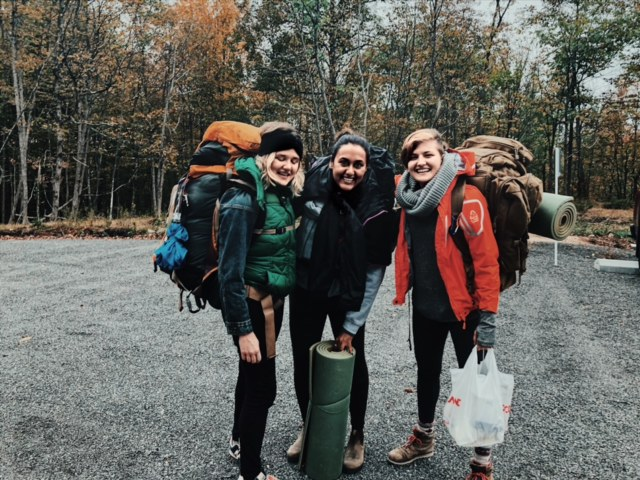 L-R: Ksenia, Me, Abbie. We wore a lot of layers and brought a lot of food!