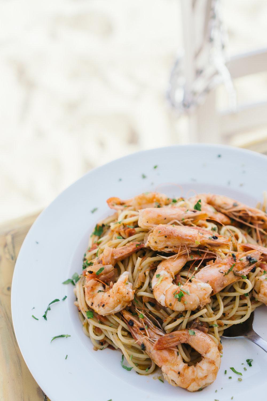 My favorite meal of the entire trip – shrimp pasta at Tasos Restaurant, Paranga Beach