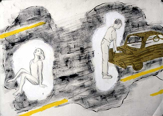 Parking Lot Series, mixed media, 1998
