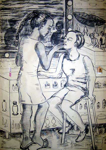 Consumer series, Charcoal on paper with collage, 2004