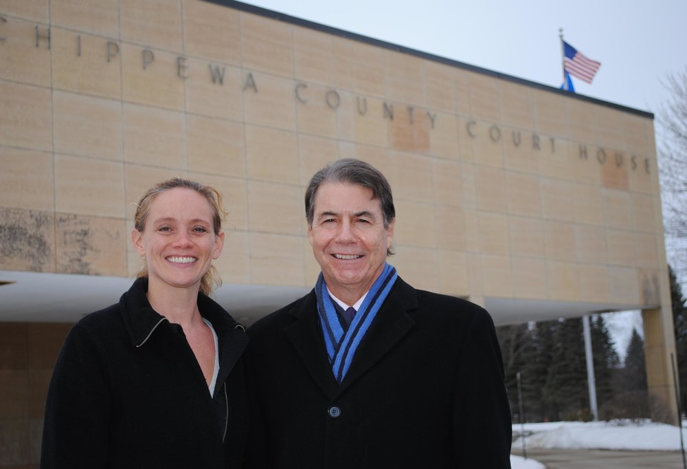 Dawn Schoep with Brian Wojtalewicz outside the Chippewa County Courthouse after achieving a $10+ Million dollar verdict in a sexual abuse case