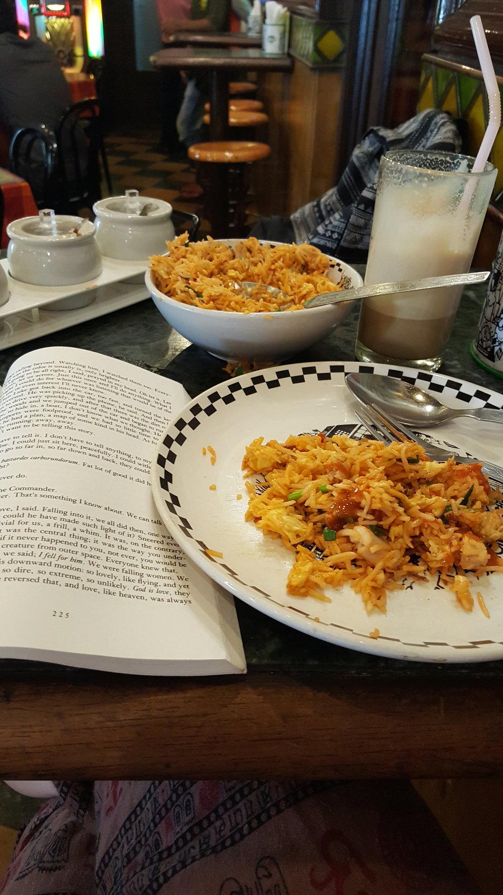YUM. One of my favorite meals here - Chicken Sezchwan Rice (Mumbai Style)