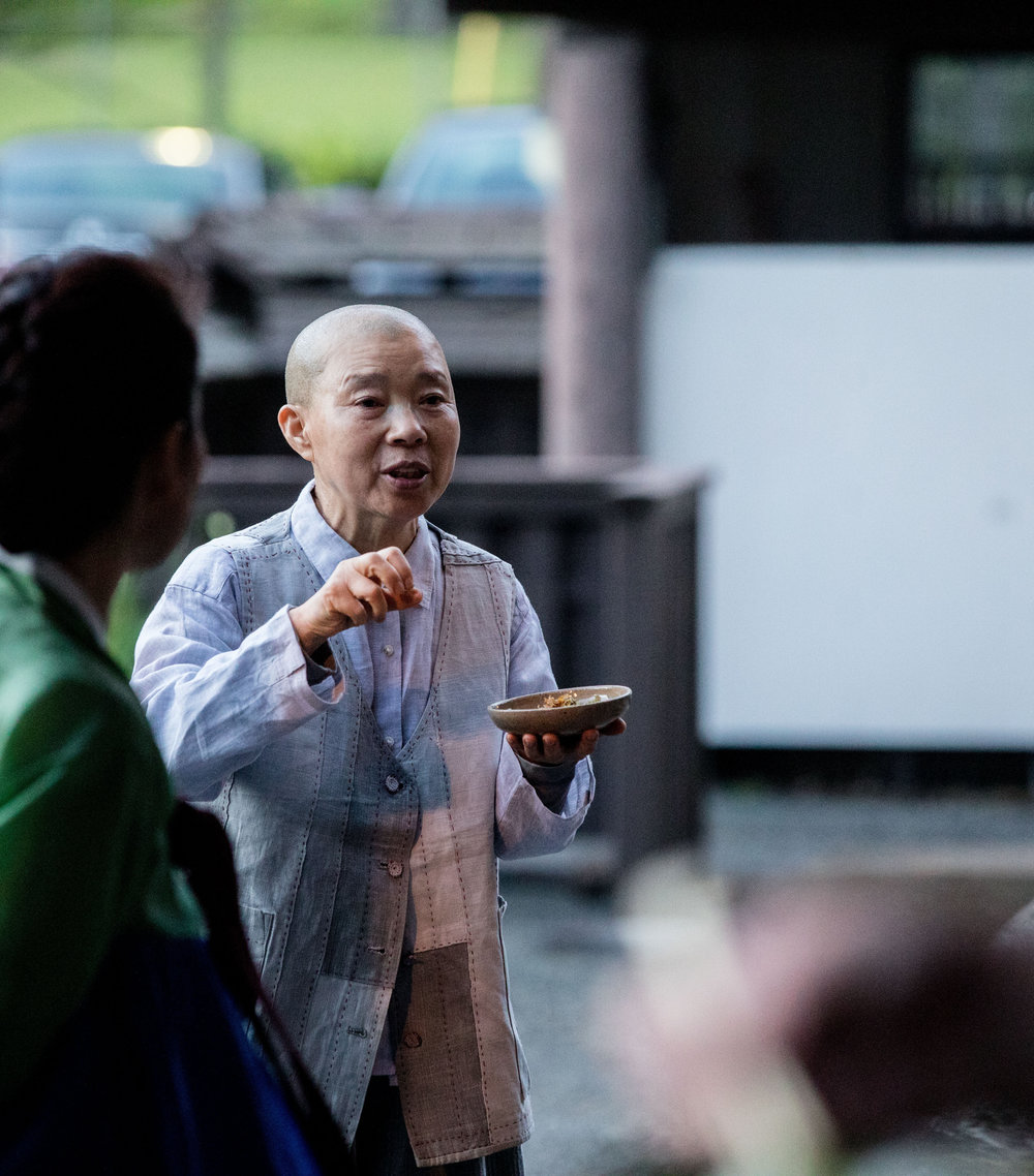 Jeong Kwan Sunim explains a dish served at Daihonzan Chozen-ji.