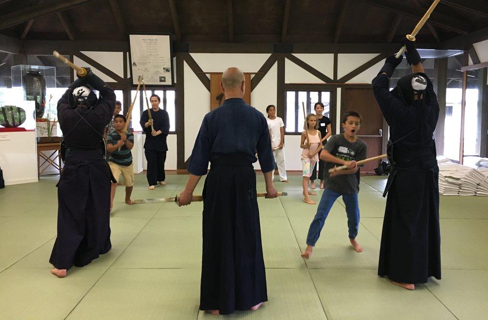 Teshima Sensei keeps an eye on the Kendo drills.