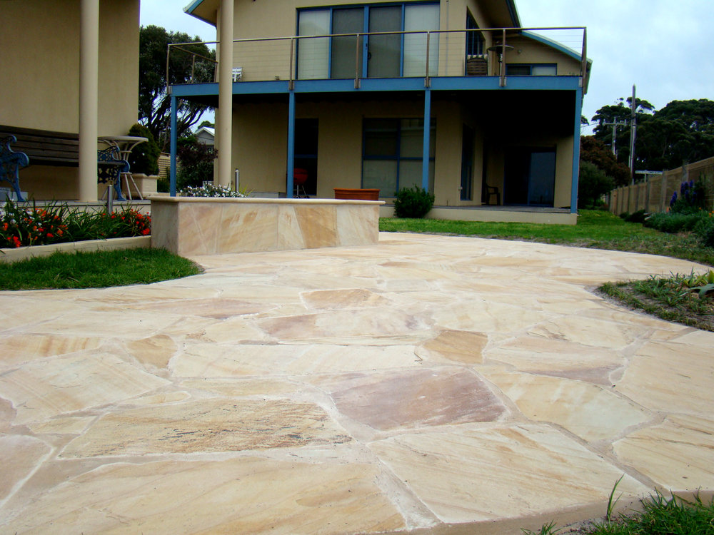 Crazy Paving in Golden Sands Sandstone