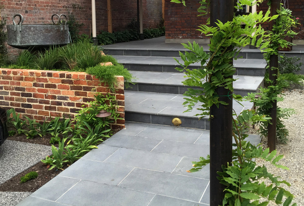 Sandblasted Black Granite on Steps