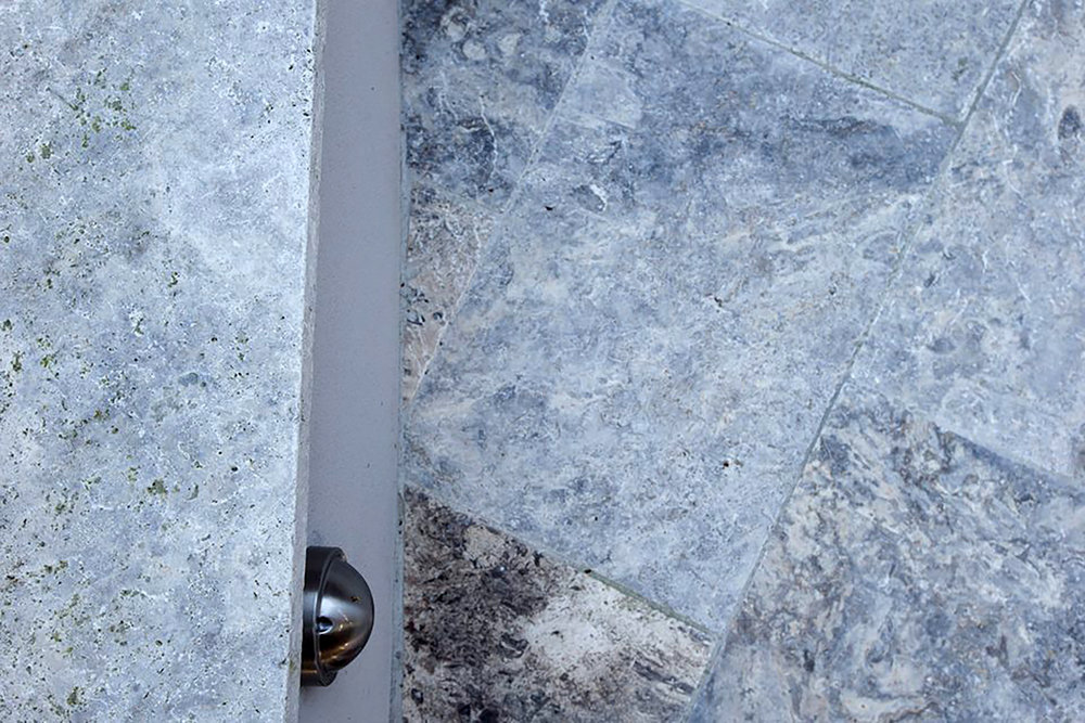 Close Up of Silver Travertine Unfilled