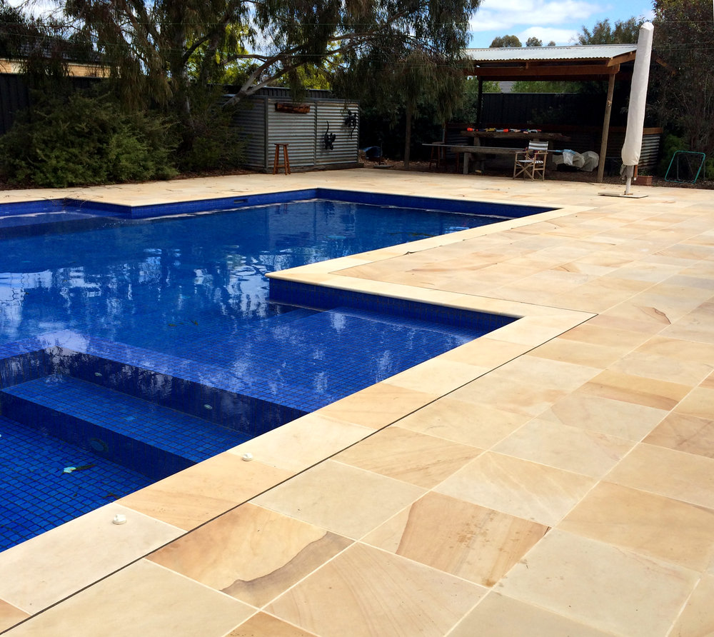 Honed Sahara Sandstone by Poolside