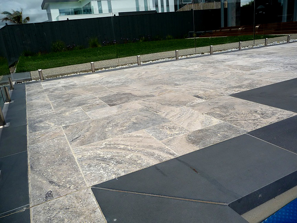 Silver Travertine with Bluestone Copers
