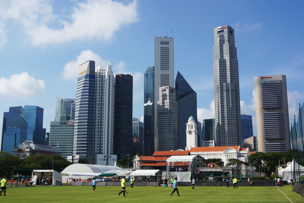 Sunday morning hockey in the heart of downtown Singapore.