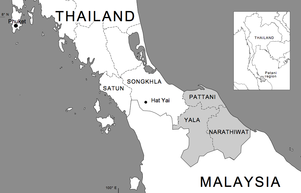 A map of Thailand's deep south. The three provinces to the east are where the vast majority of the violence occurs. Source:http://www.eastbysoutheast.com/south-thailands-muslim-insurgency-global-jihad/
