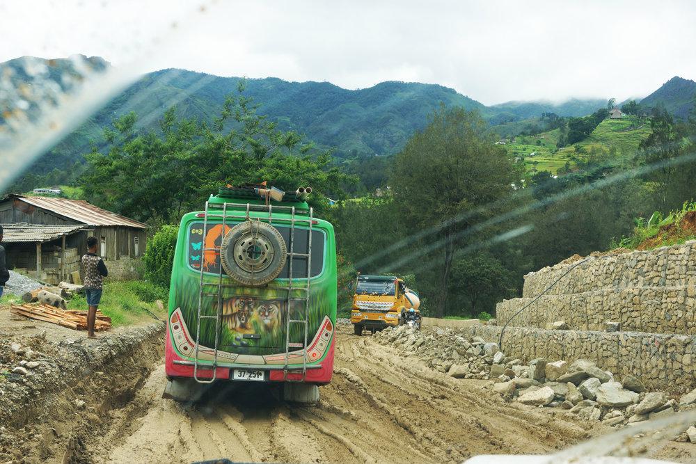 Deep mud on the road to Ramelau