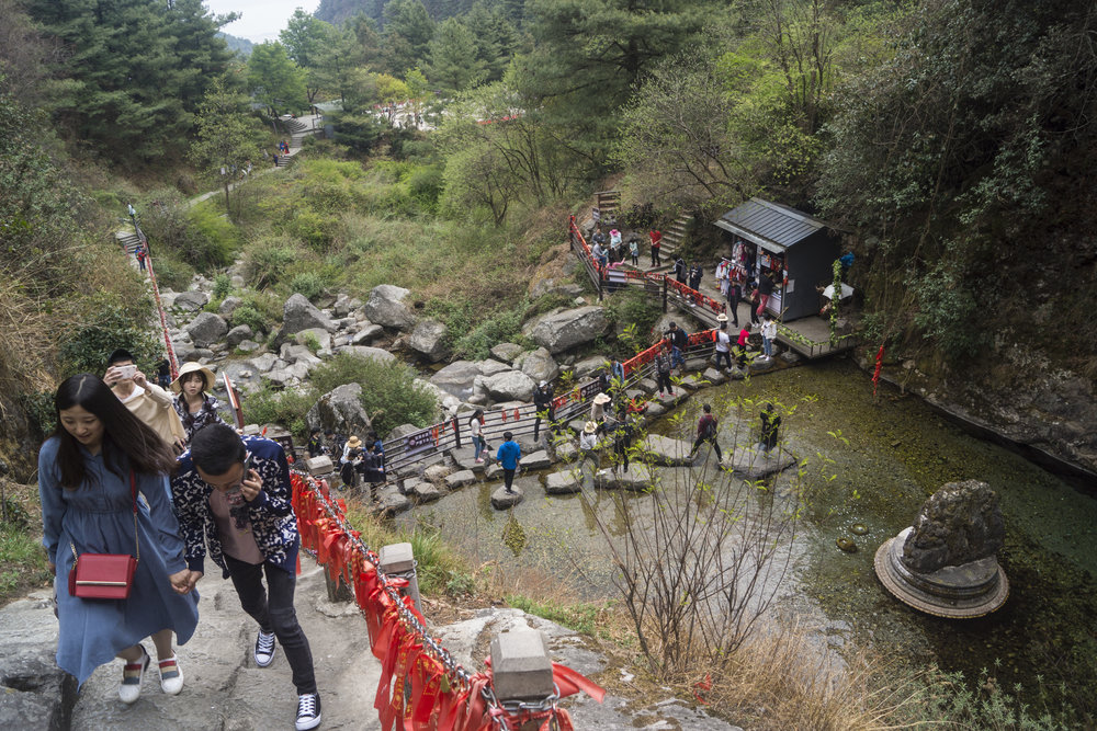 Tourists on one of Mt Cangshan's most popular walking trails.