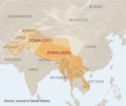 Zomia outline under its original 2002 definition, and extended 2007 definition.