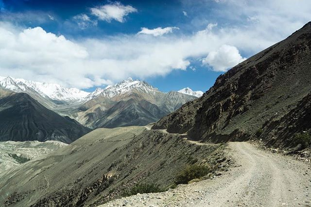 Hindu Kush in the distance. The road from Kargush to Langar in the Pamir/Wakhan valleys.