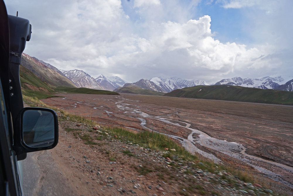 No-man's land between Kyrgyzstan and Tajikistan. This is taken at over 4000 meters altitude - the second highest border crossing in the world.