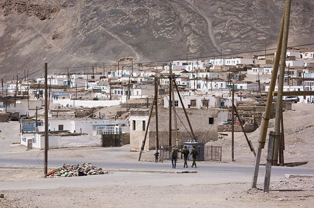 Murghab in Tajikistan's Far East is a spectacularly desolate settlement - one of those places that makes you wonder why on earth anyone settled here in the first place. It is colourless, treeless and exposed to all the harshness of life at 3600 m above sea level. I arrived on the day Ramadan ended - but you couldn't tell. It was quiet that day, people all seemed locked in their homes and remained so for my 36 hours or so in town. Here, three soldiers from a nearby barracks patrol the streets.