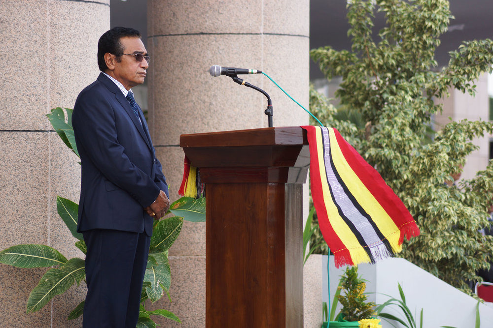 The President of Timor Leste:  Francisco Guterres addresses his military.