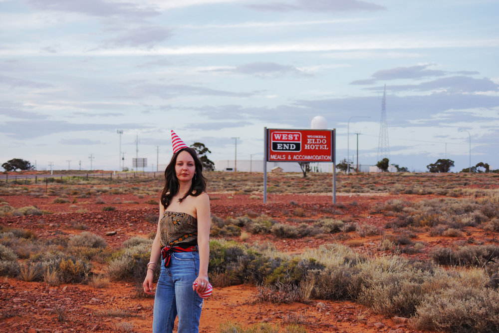 Day 1, Woomera, South Australia:  Emily celebrating my birthday in the desert.