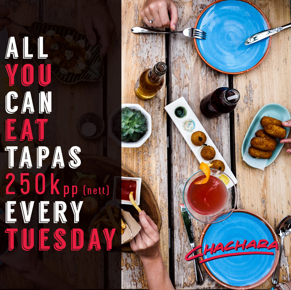 EVERY TUESDAY - Summer is officially here and that means warm, balmy nights on our terrace, apperitivo and on Tuesdays... ALL YOU CAN EAT TAPAS.We're taking a risk here to challenge you.. just how many tapas can you eat?All your favourites are there Salmon TNTs, Tuna explosions, Avocado airbags, Patatas bravas, Prawn carpaccio... and more! Check out our website for the full menu or to book a table.
