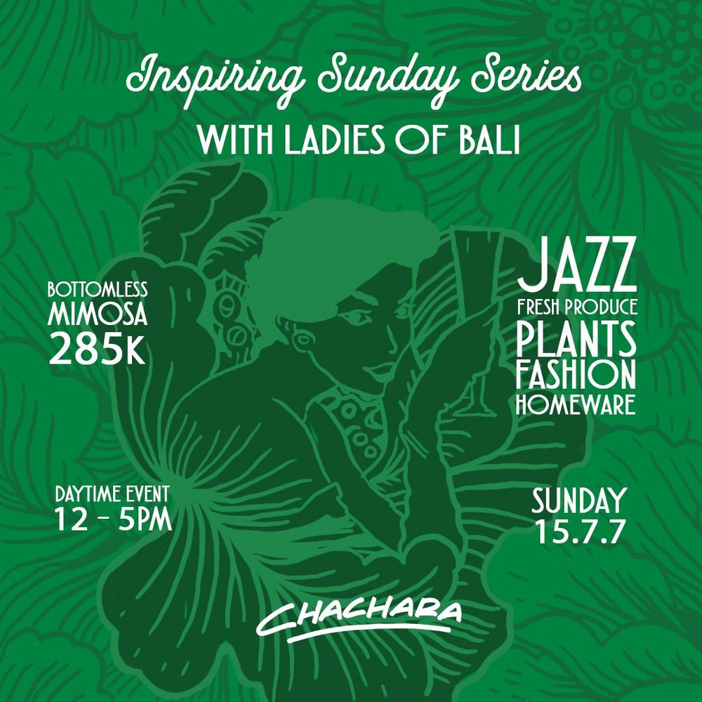 Inspiring Sunday Series  - Week 1: Ladies of BaliSUN 15th JUL | 12pm - 5pmImagine a Sunday well-spent with productive conversation, seminars or workshops, the soundtrack of live Jazz and maybe a mimosa in your hand as you pick up your fresh produce or some plants for the home.JAZZ | FRESH PRODUCE | PLANTS HOMEWARES | FASHIONThis is a Puppy-Friendly event