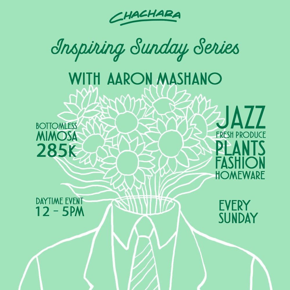 INSPIRING SUNDAY SERIES - Week 2: AARON MASHANOSUN 22ND JUL | 12pm - 5pmImagine a Sunday well-spent with productive conversation, seminars or workshops, the soundtrack of live Jazz and maybe a mimosa in your hand as you pick up your fresh produce or some plants for the home.