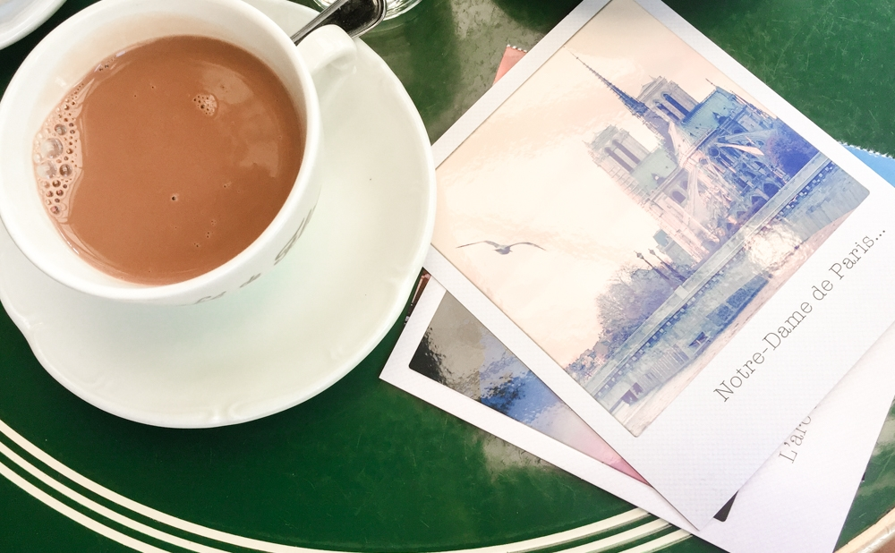 Hot chocolate while writing postcards at Café de Flore.