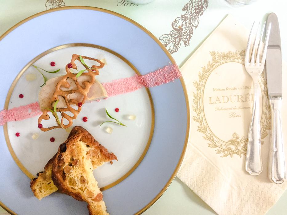 Enjoying foie gras at Ladurée.