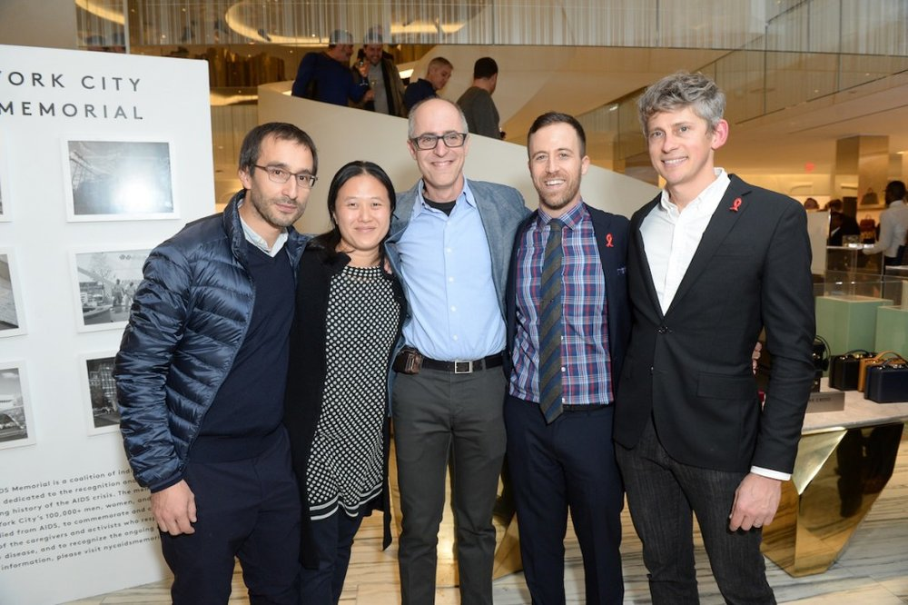 AIDS Memorial architects Mateo Paiva, Lily Lim, and Esteban Ehrlich of Studio AI and co-founders Christopher Tepper and Paul Kelterborn. Photographer: Joe Schildhorn/BFA.com